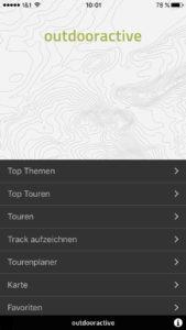 Outdooractive-Oberfläche-Apps