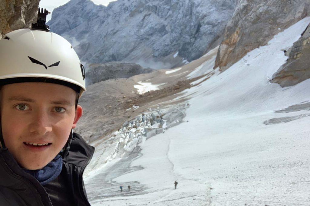 Zugspitze durch das Höllental - Blick auf den Gletscher aus dem Klettersteig