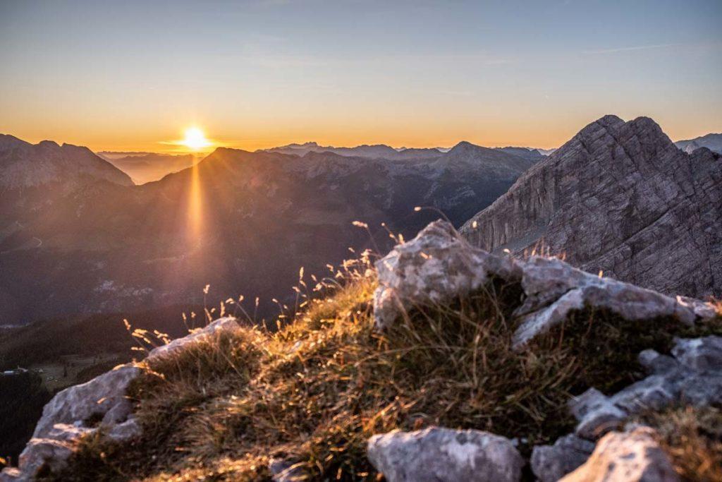 Sonnenaufgang während der Watzmannüberschreitung