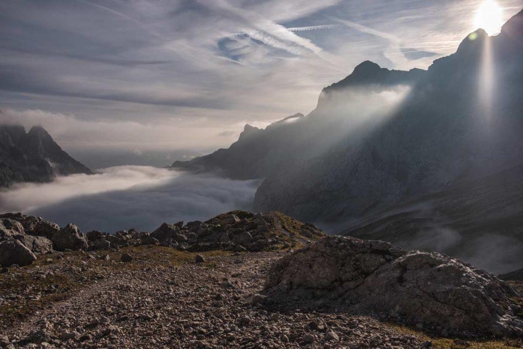 Zugspitze durch das Höllental - Sonnenaufgang - Nebel im Höllental
