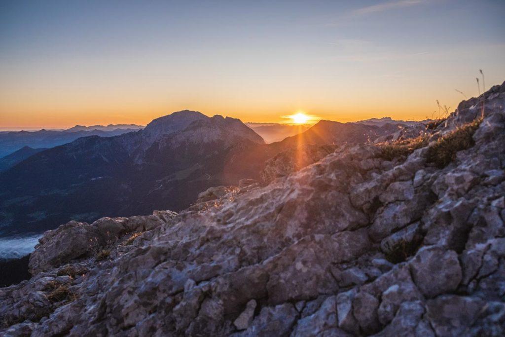 Sonnenaufgang am Watzmann beim Aufstieg zum Hocheck