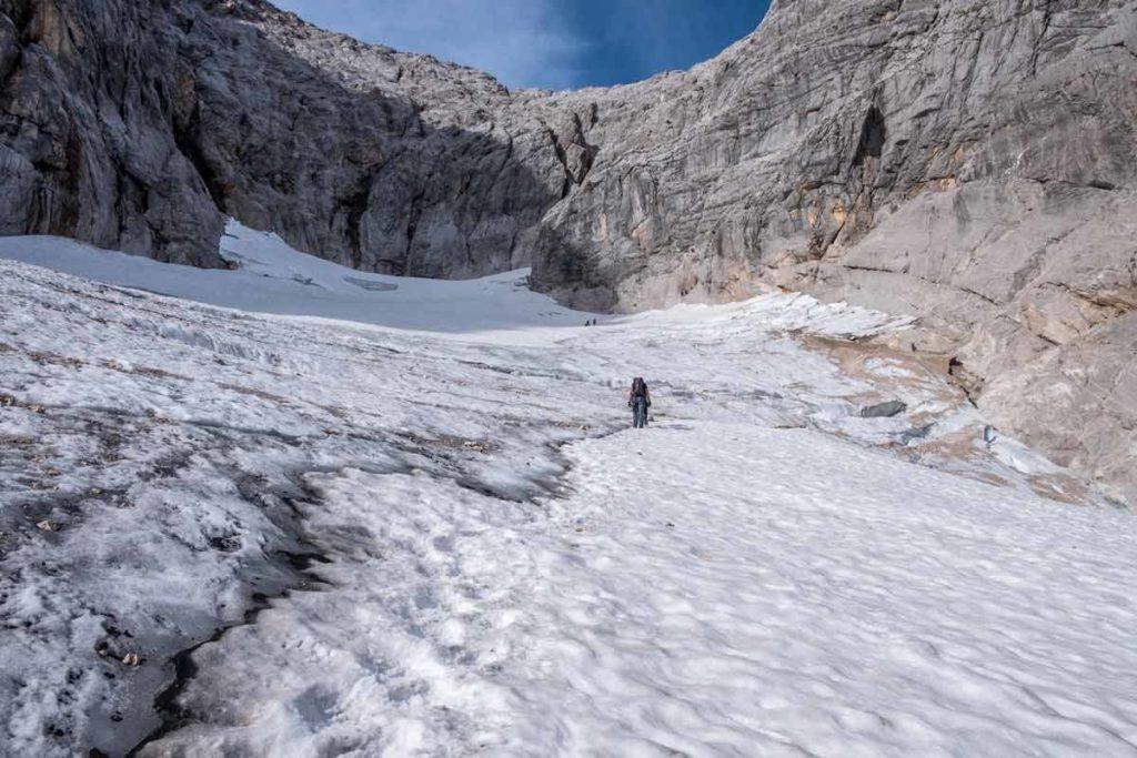 Höllentalferner auf dem Weg zur Randkluft zum Klettersteig zur Zugspitze