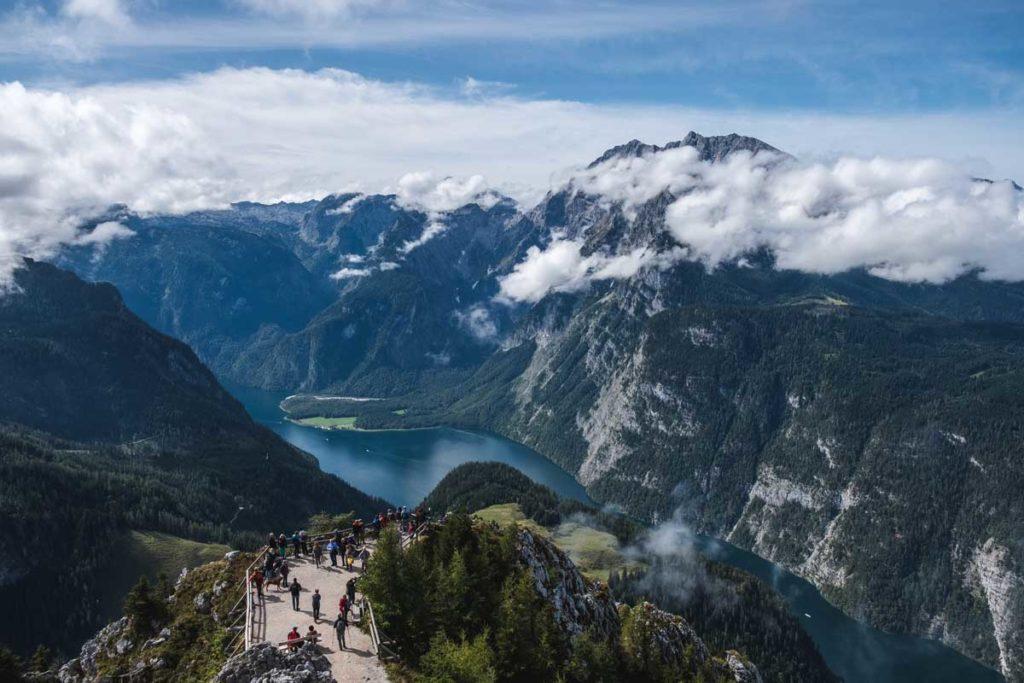 Ausblick vom Jennergipfel auf den Königssee und den Watzmann
