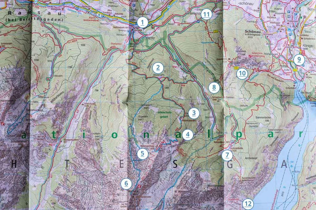 Karte Watzmannhaus Wanderungen