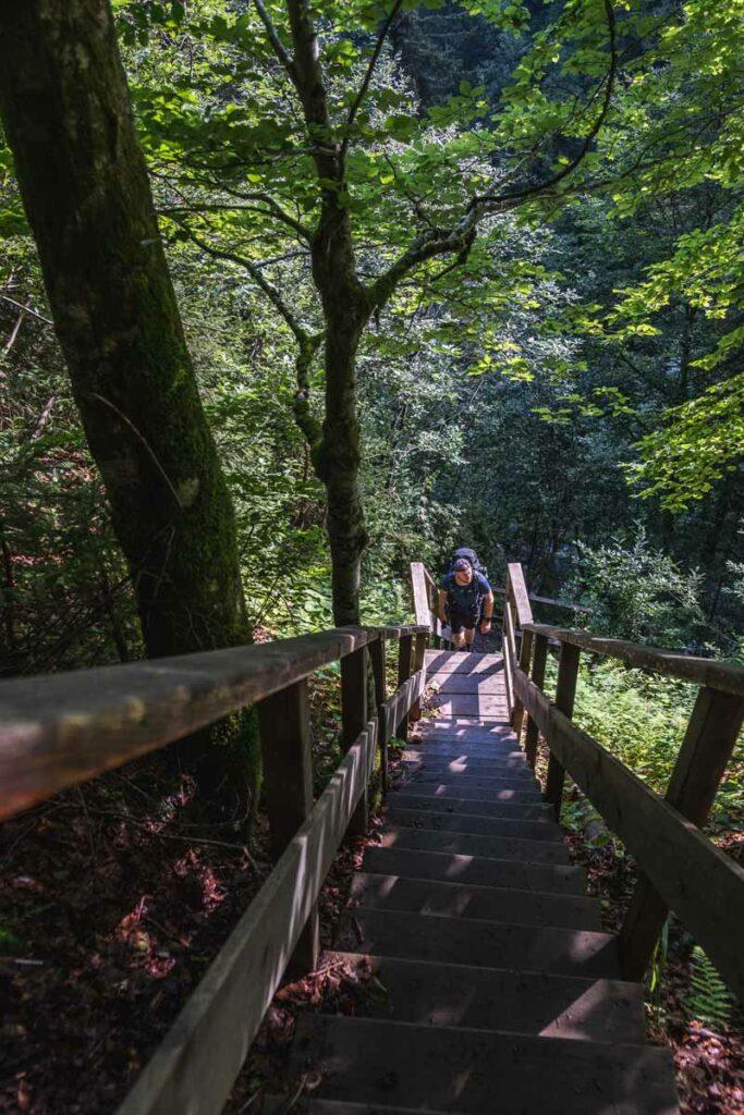 Jannik auf einer Treppe am Eifersbacher Wasserfall