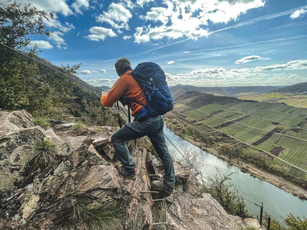 Calmont Klettersteig mit toller Aussicht auf das Moseltal