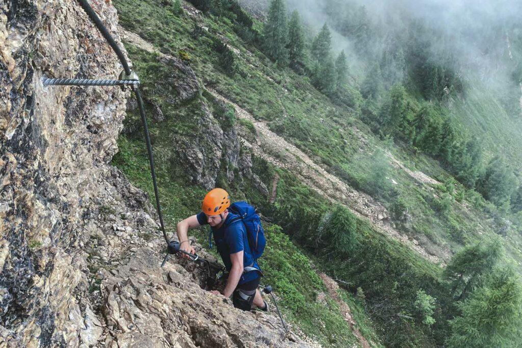 Einstiegswand Marokka Klettersteig