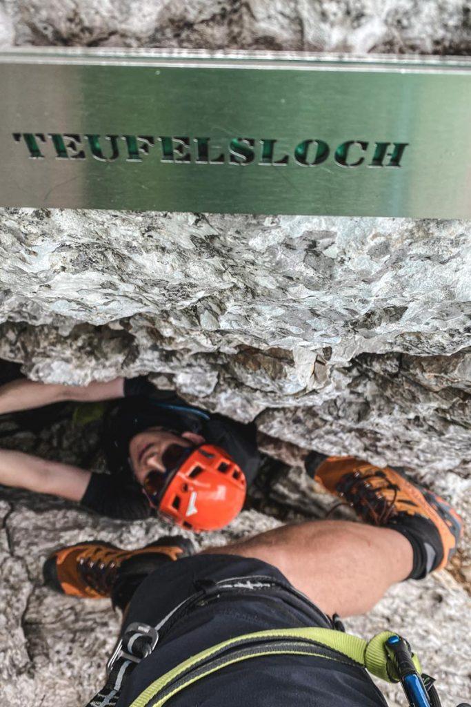 Teufelsloch auf dem Klettersteig Leogang Nord