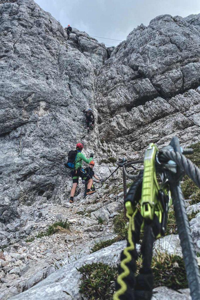 Seilbrücke im Klettersteig Leogang Nord